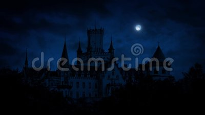 Gothic Castle At Night With Full Moon Stock Video