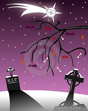Gothic christmas greeting card with tombstones