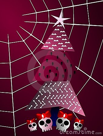 Gothic christmas greeting card tree and cobweb