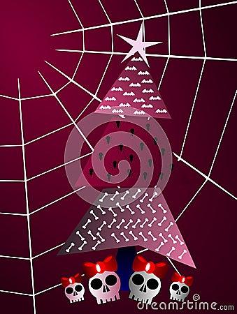 Gothic christmas greeting card tree and cobweb