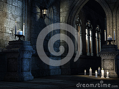 Gothic church with candles