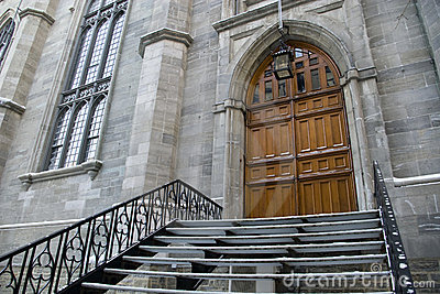 Gothic church entrance door stairway wide angle
