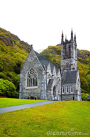 Gothic church at Kylemore Abbey Editorial Photography