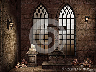 Gothic crypt with bones