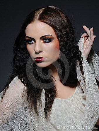 Gothic female face creative make-up