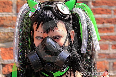Gothic fetish girl with gasmask Editorial Image