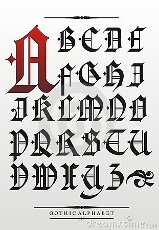 Gothic Font Alphabet Royalty Free Stock Photography - Image: 22279427