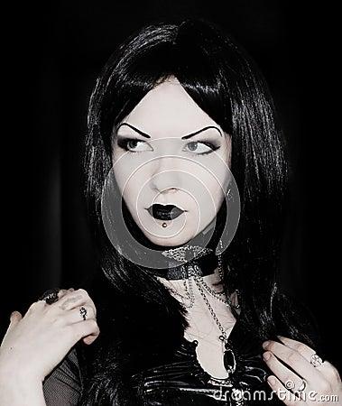 Gothic girl in black
