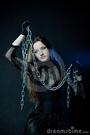 Gothic girl with chains