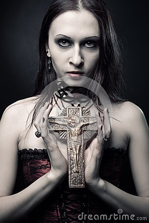Gothic girl with crucifix