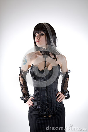 Free Gothic Girl In Black Corset Stock Photography - 28675682