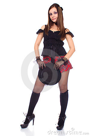 Gothic girl in mini skirt with hat