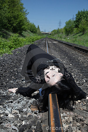 Free Gothic Girl On Railway Stock Images - 9765784