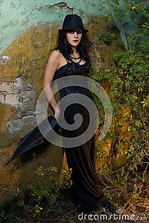 Gothic Girl outside