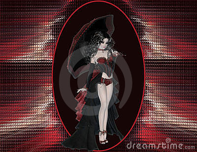 Gothic Girl on Red & Black Background 2