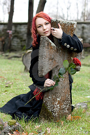 Gothic girl with a rose