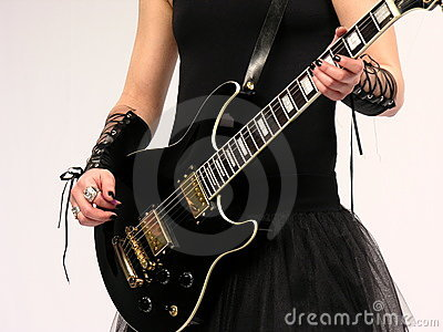 Gothic guitar player, female