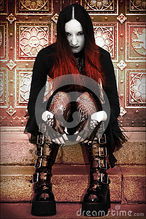 Gothic lady on stairs