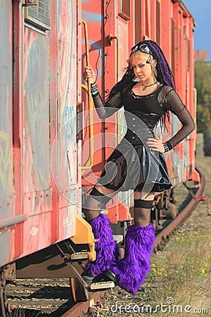 Gothic Pvc Fashion On Train Royalty Free Stock Photography