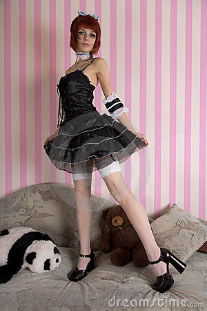 Gothic Lolita girl in funny interior