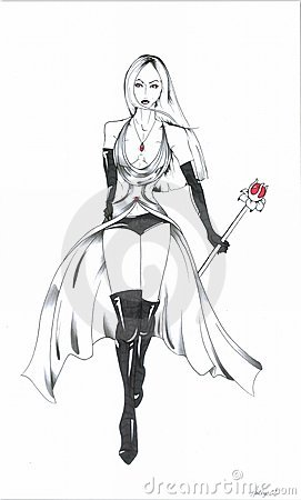 Gothic Model with Red Staff