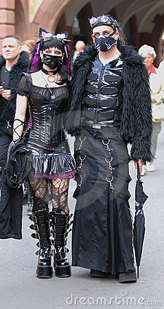 Gothic pair with dracula eyes at goth-festival2009 Editorial Photography