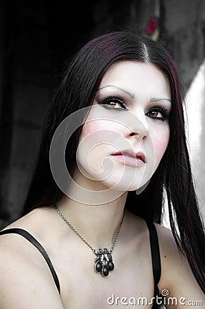 Gothic pale skin woman