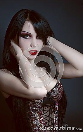 Gothic portrait of brunette sexy woman