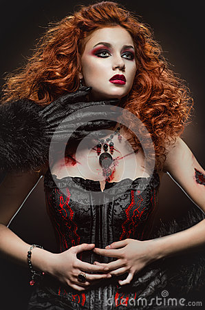 Free Gothic Redhaired Beauty And The Beast Stock Photos - 43876833