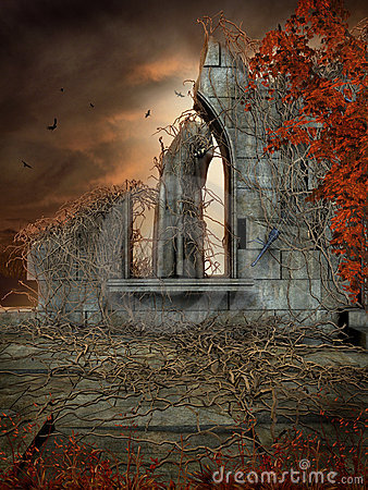 Gothic ruins with dead vines