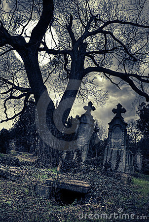 Free Gothic Scene With Opened Tomb Royalty Free Stock Photo - 7928555