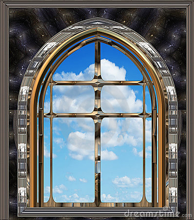 Gothic Or Scifi Window With Blue Sky Stock Images - Image: 11925794