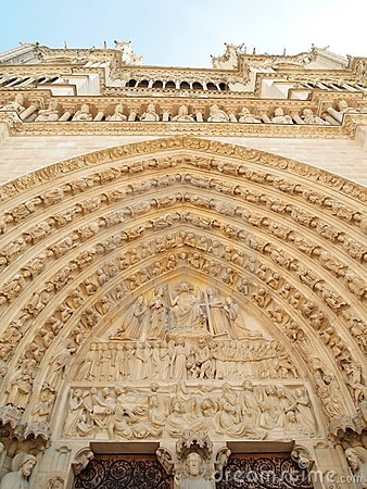 Gothic sculptures in the facade of Notre Dame