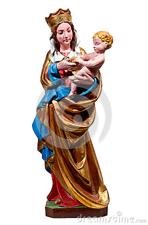 Gothic statue of Mary, the Holy Virgin: Madonna of