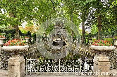 Gothic Stone garden and pond