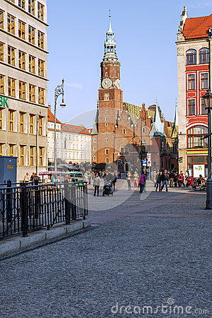 Gothic Tower of the Old Town Hall in Wroclaw Editorial Photo