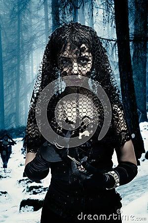 Gothic Woman in Black Veil