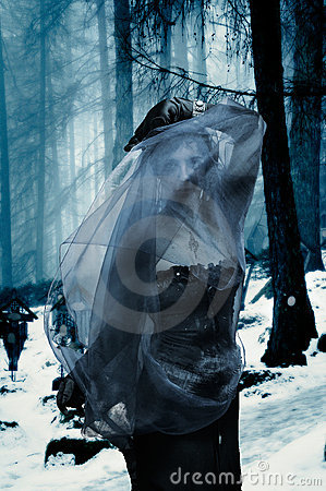 Gothic woman in a forest