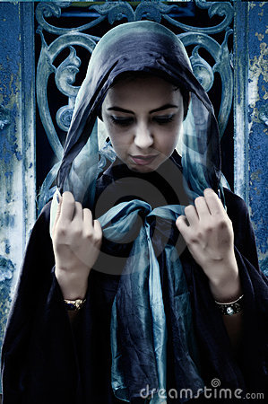 Gothic woman with head scarf