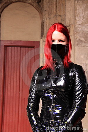 Gothic woman pvc jacket and facemask Editorial Photo