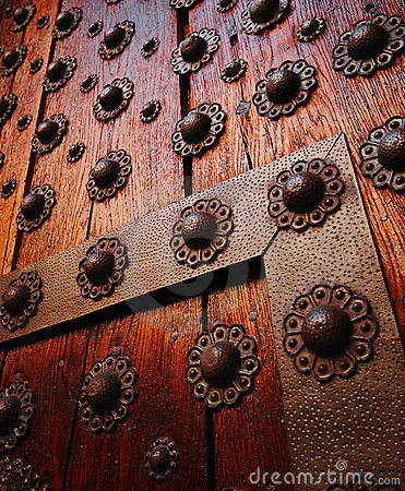 Gothic wooden door detail.