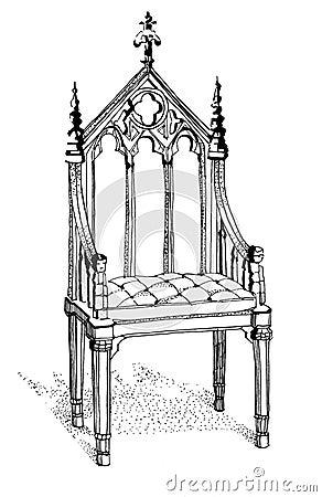 Gotische Stuhlhand Gezeichnet Stock Abbildung - Bild: 56114228