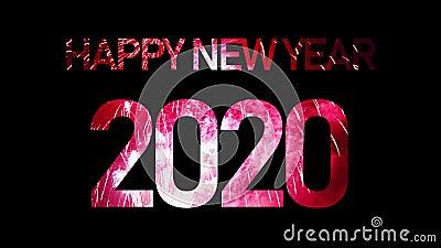 2020 Gott nytt år med riktigt fyrverkeripjäser med fyllning av festramar och sömlöst abstrakt otydliga bålljus arkivfilmer