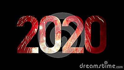 2020 Gott nytt år med riktigt fyrverkeripjäser med fyllning av festramar och sömlöst abstrakt otydliga bålljus stock video