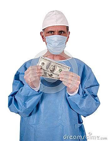 Gotówkowego kosztów doktorskiego opieki zdrowotnej pieniądze poważny chirurg