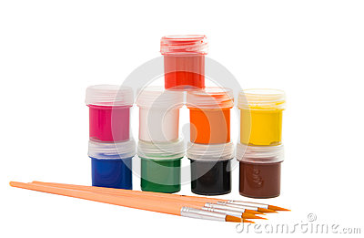 Gouache of paint and brush