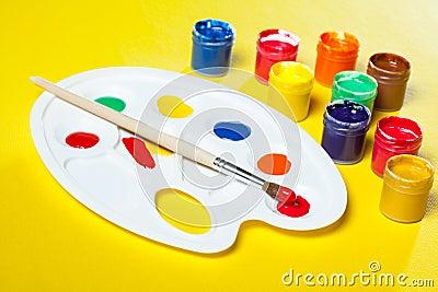 Gouache paints and watercolors