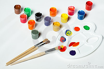 Gouache paints and watercolors
