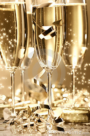 Gouden champagnefonkeling
