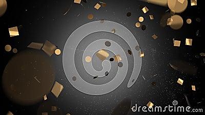 Gouden confettien in zwarte op een witte achtergrond stock footage